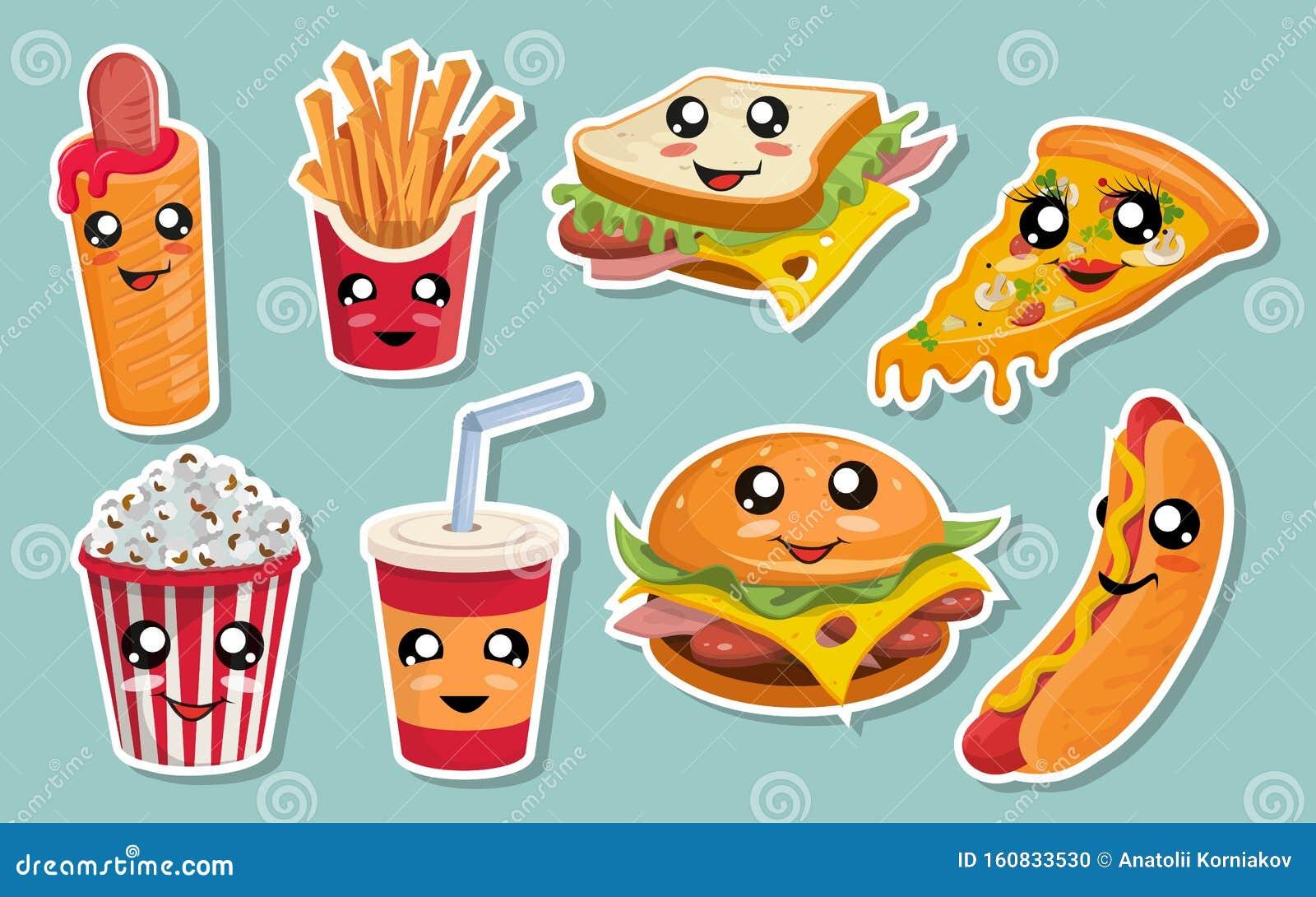 Vector Set Of Cute Kawaii Fast Food Kawaii Faces Cartoon Fast
