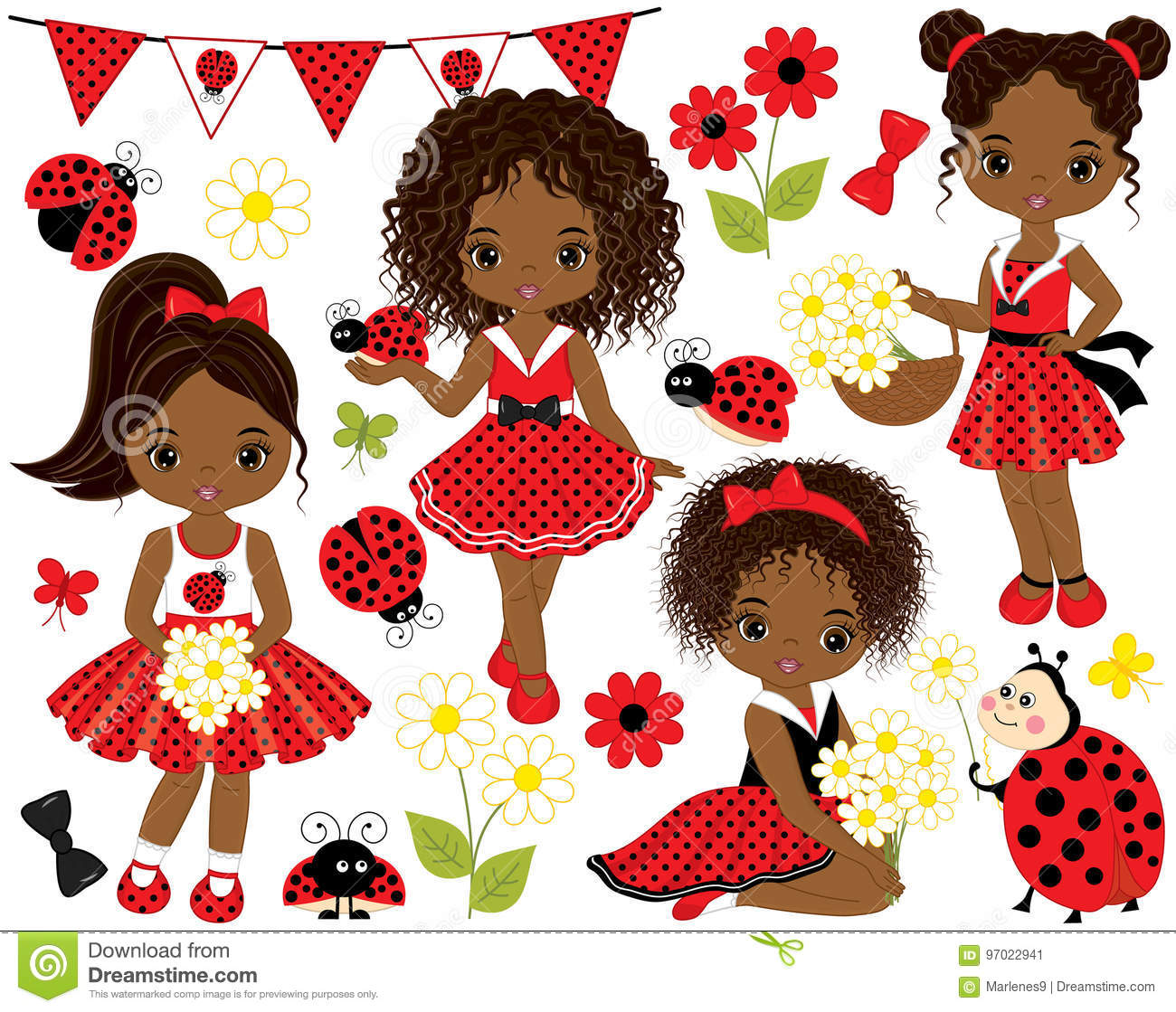 Download Vector Set With Cute Little African American Girls With ...