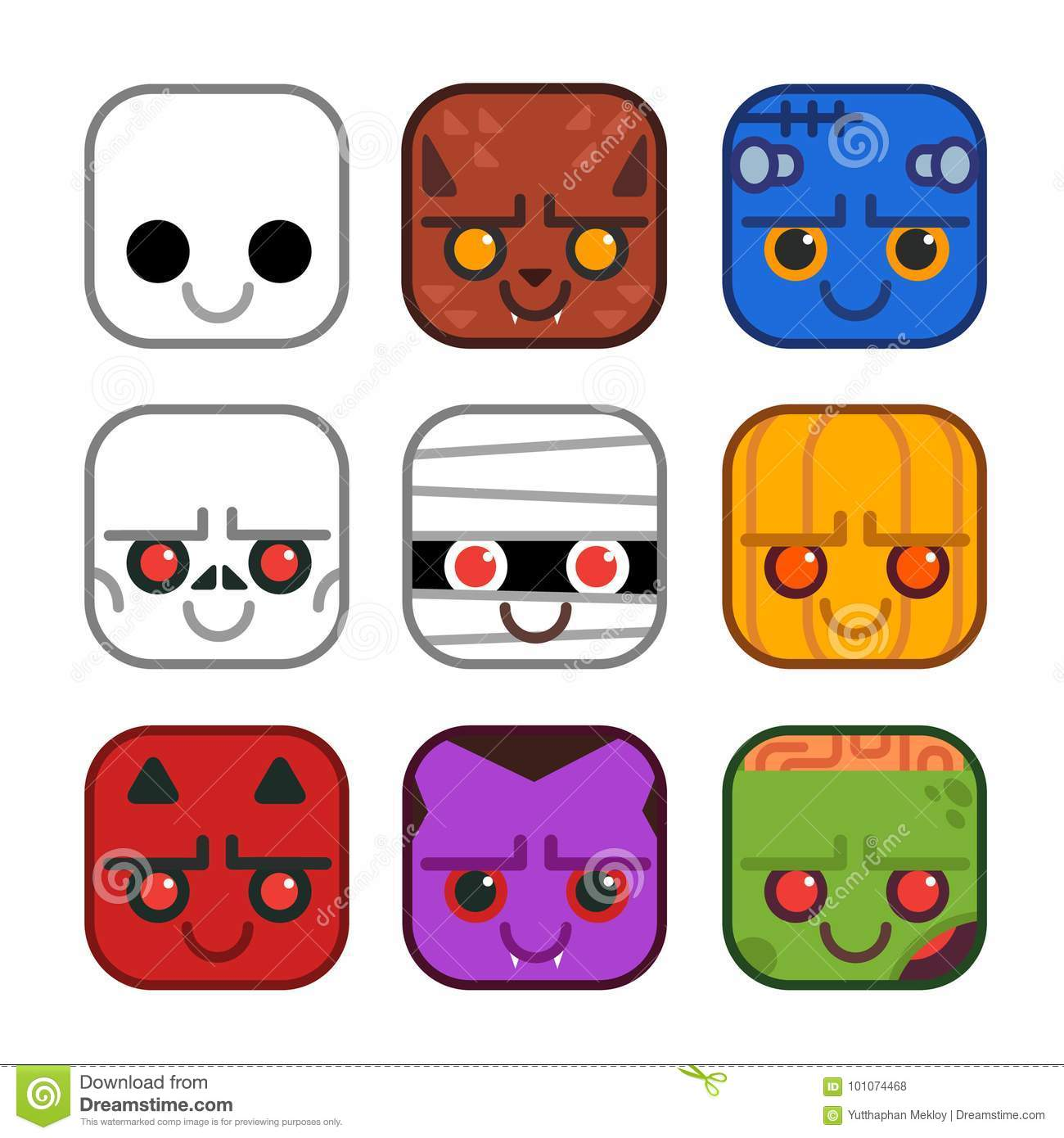 Vector Set Of Cute Monster Icons In Flat Design Style  Ghost