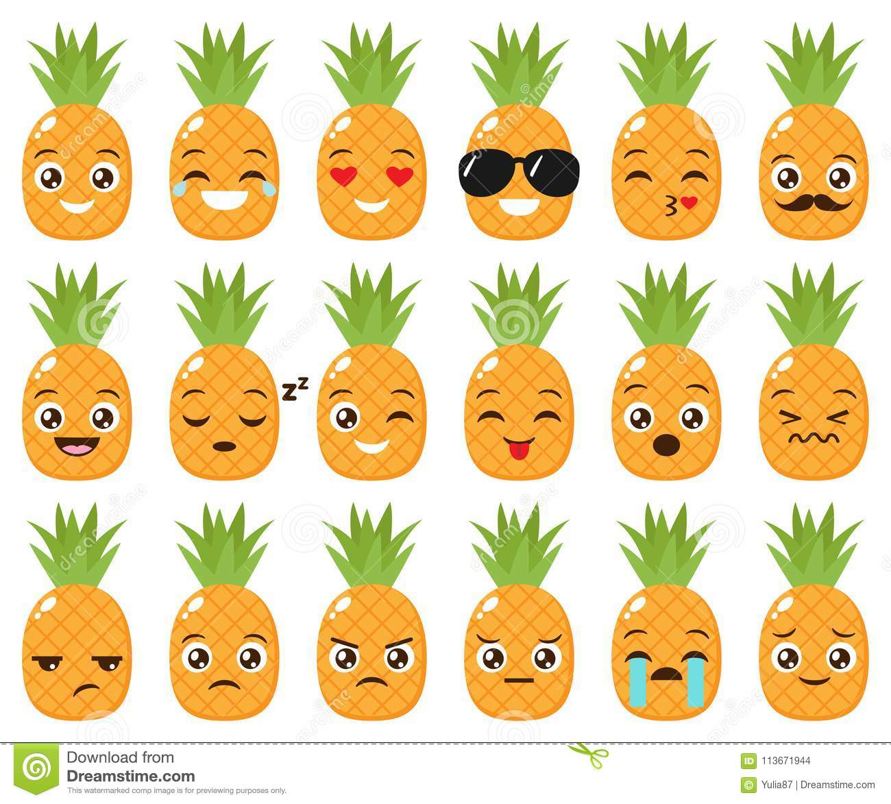 Vector Set Of Cute Pineapple Emojis Stock Vector