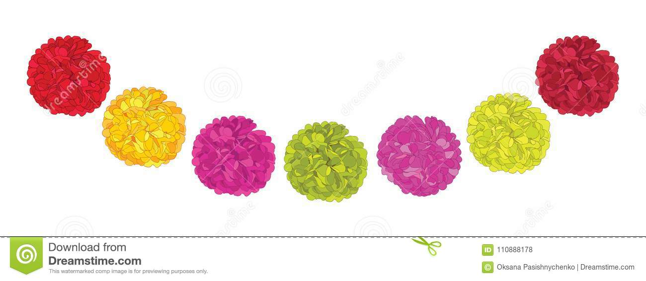 vector set of cute red pink and yellow birthday party paper pom
