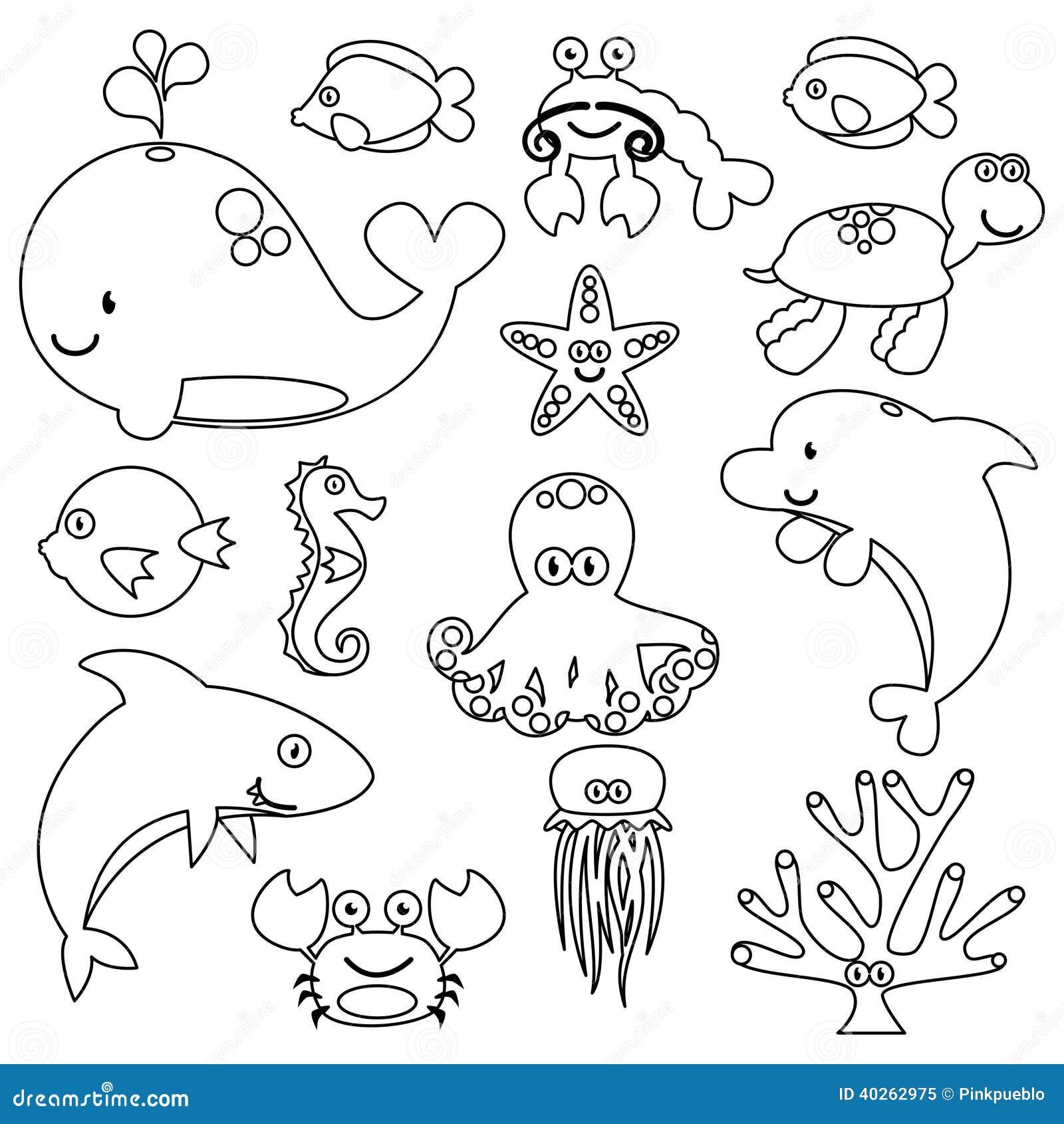 Vector Line Art Animals : Vector set of cute sea creature line art stock