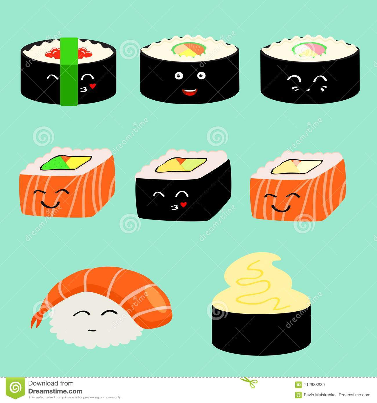 Vector set of cute sushi characters.