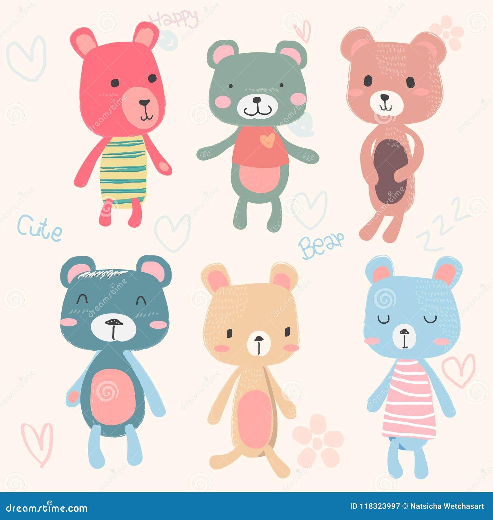 Vector Set Of Cute Teddy Bears Cartoon Character Hand Drawing In