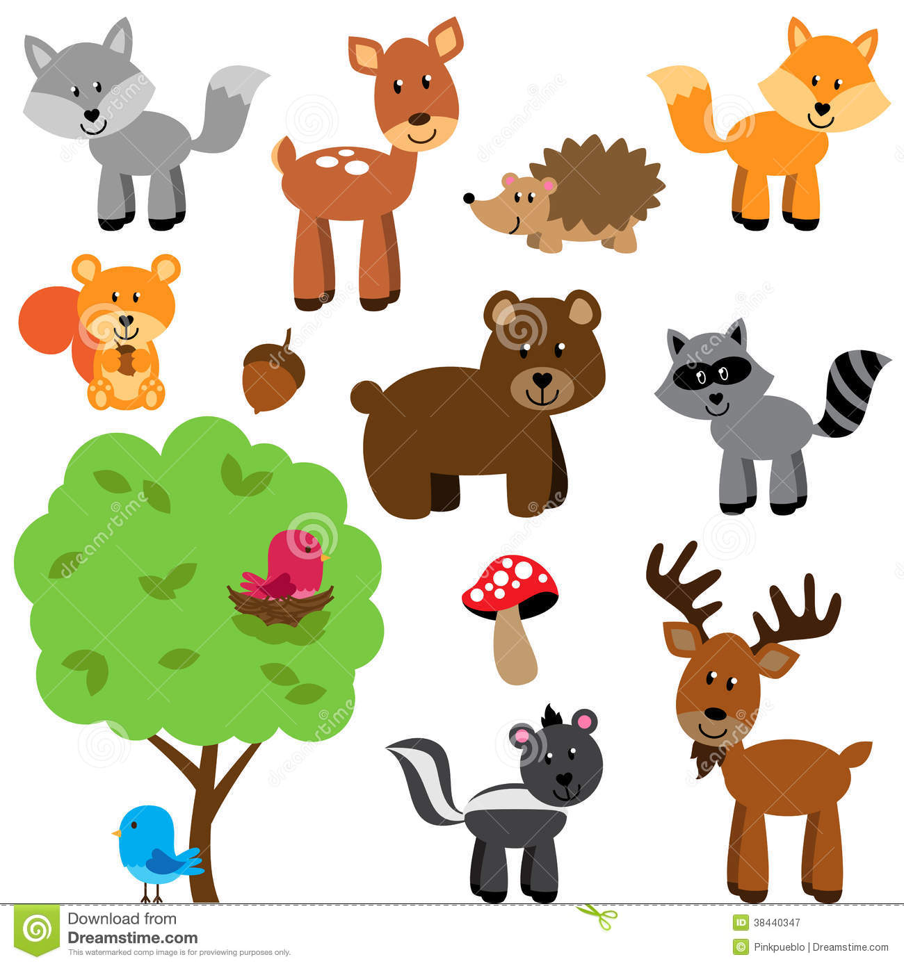 Vector Set Of Cute Woodland And Forest Animals Stock ...