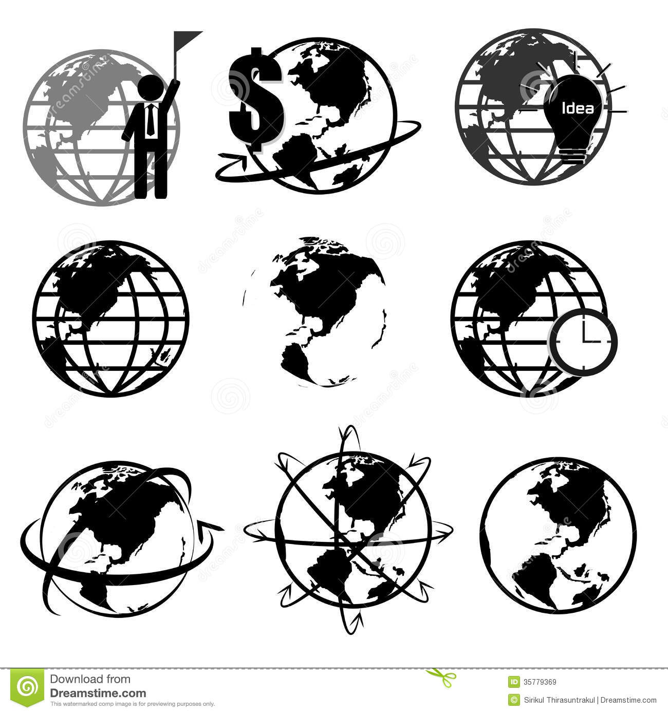 Vector set of 3d world map or globe series 2 stock illustration vector set of 3d world map or globe series 2 gumiabroncs Image collections
