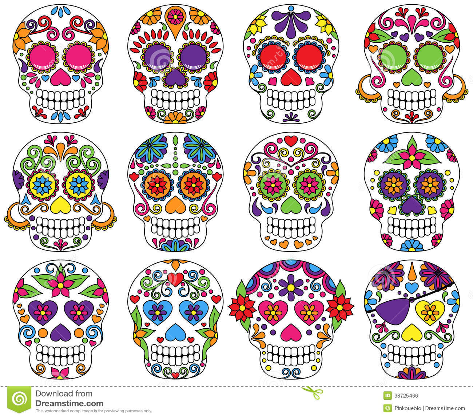 Vector Set of Day of the Dead Skulls