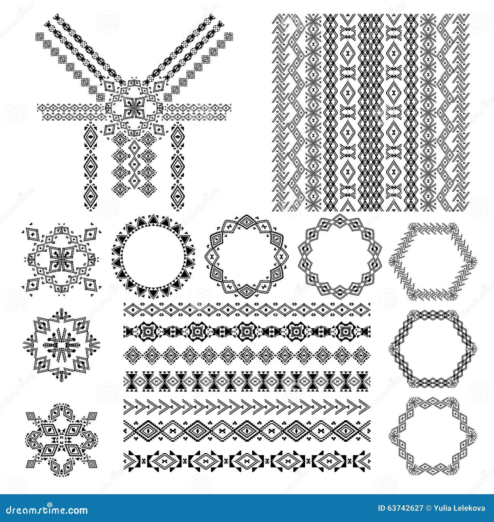 Ethnic Patterns Or Frames Vector Illustration