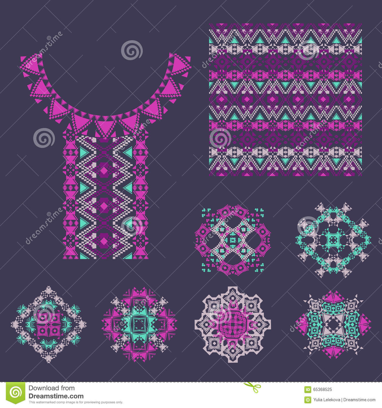 Vector Set With Decorative Ethnic Elements Vector Illustration 90323400