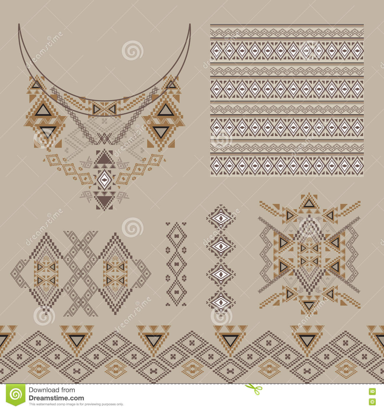 Vector Set Of Decorative Elements For Design And Fashion In Ethnic Tribal Style Neckline Borders Patterns And Seamless Texture Stock Vector Illustration Of Fabric Fashion 71500377