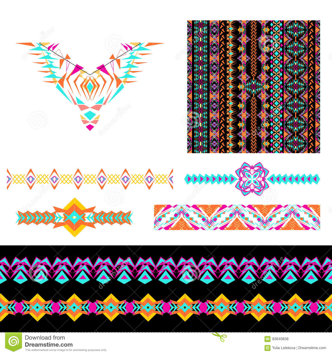 Vector Set Of Decorative Elements For Design And Fashion In Ethnic Tribal Style Neckline Seamless Borders And Patterns Collect Stock Vector Illustration Of Neck Geometric 83640838