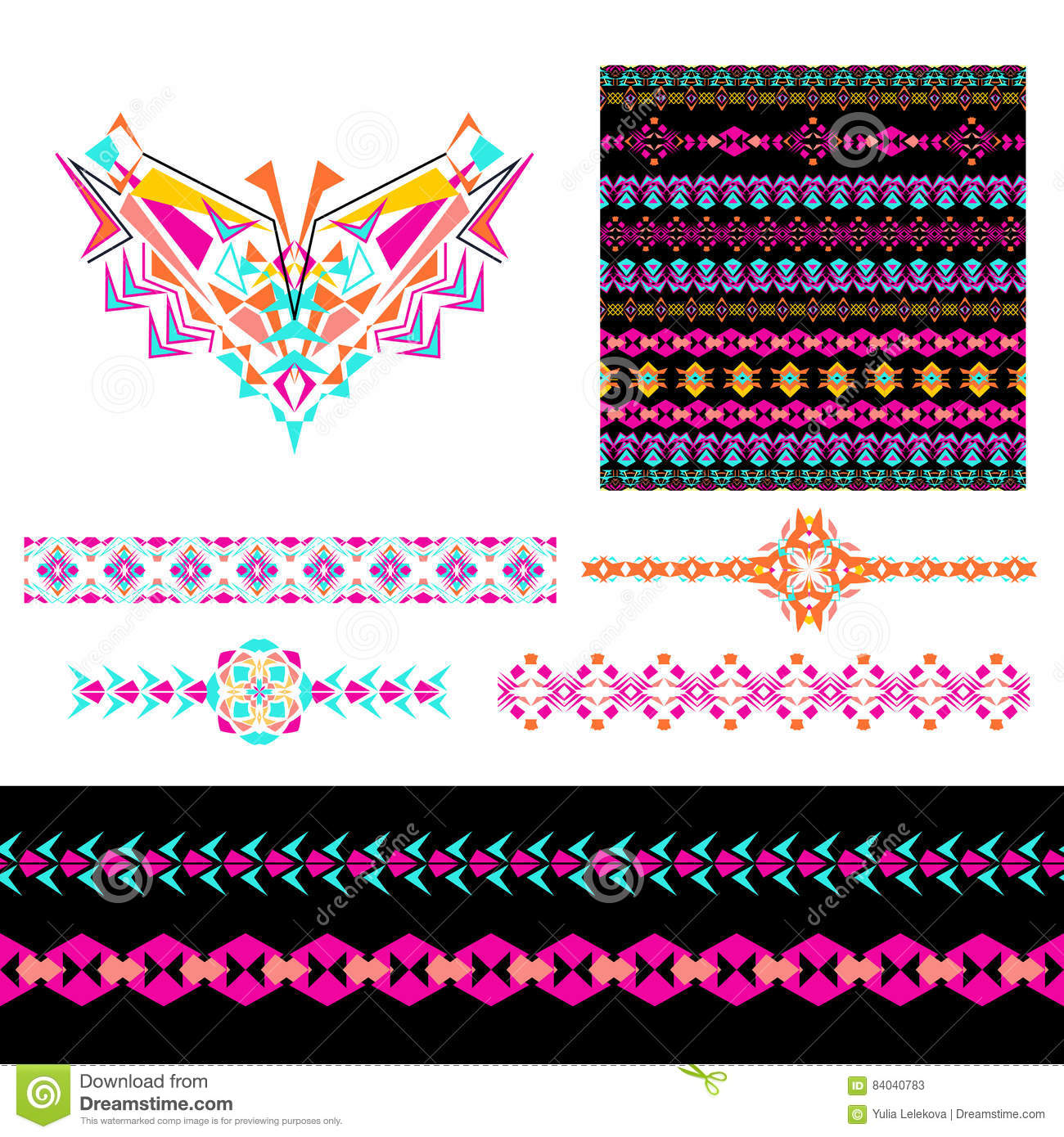 Vector Set With Decorative Ethnic Elements Vector