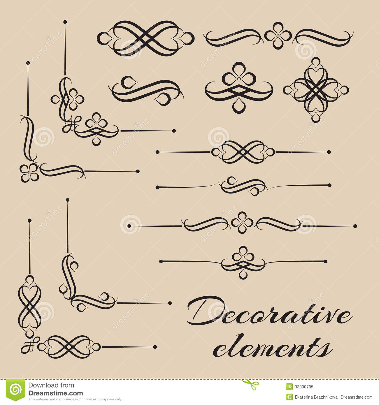 Vector Set Of Decorative Elements And Page Decor Stock Vector