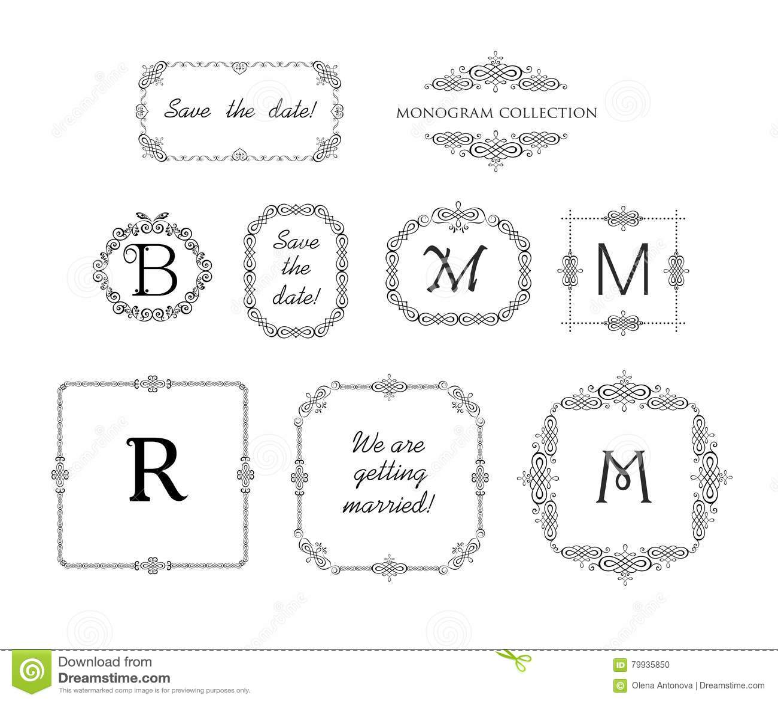 Vector Set Of Decorative Frames And Vignette For Wedding Invitation ...