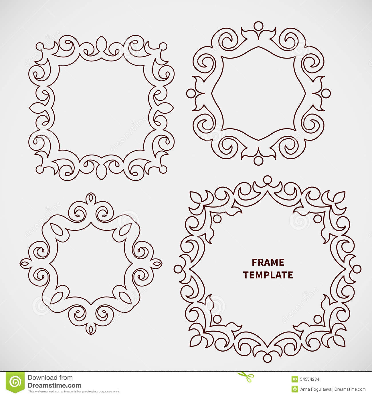 Frame Design Line Art : Vector set of decorative line art frame for design stock
