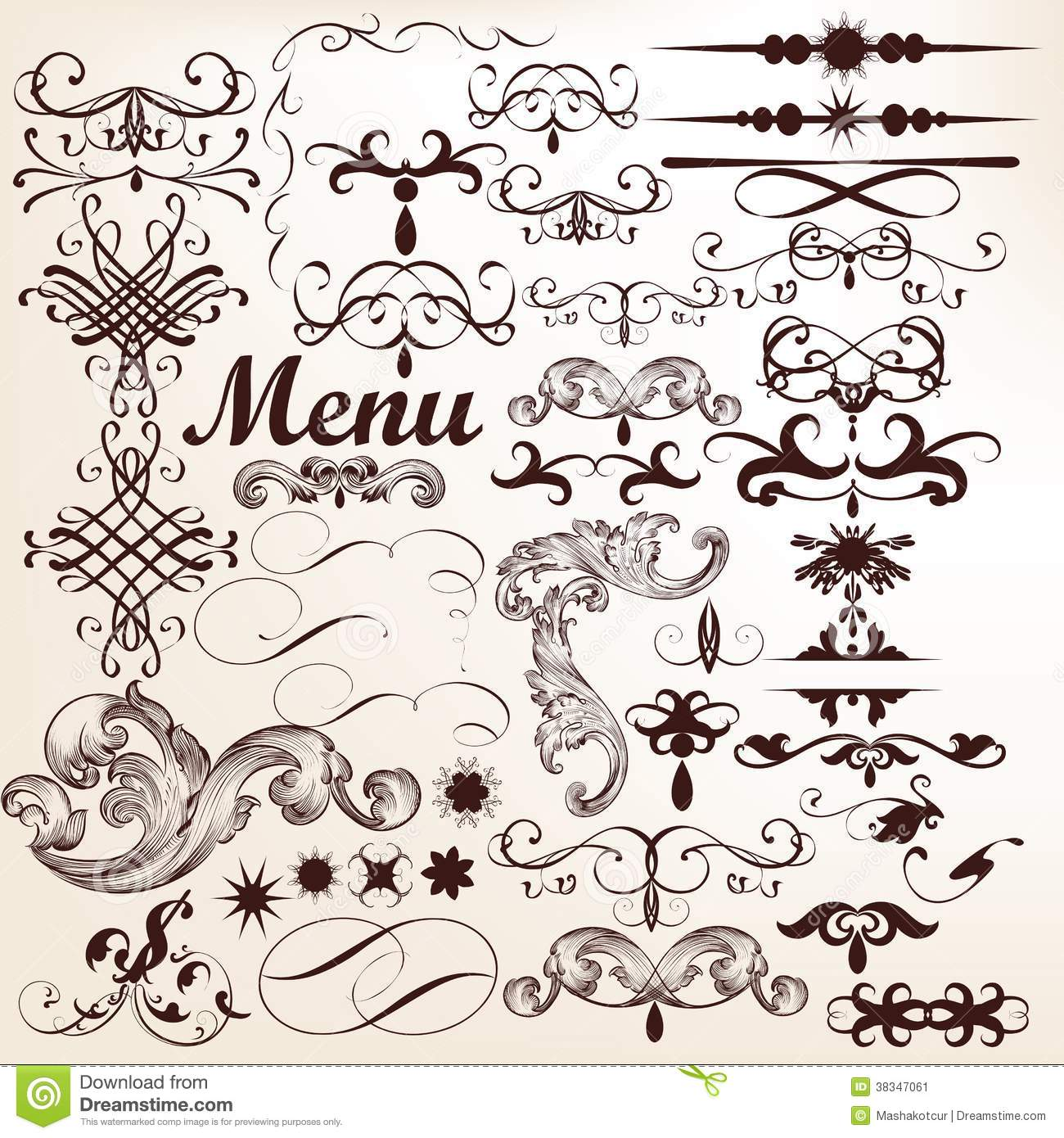 The gallery for vector vintage flourish for Decoration elements