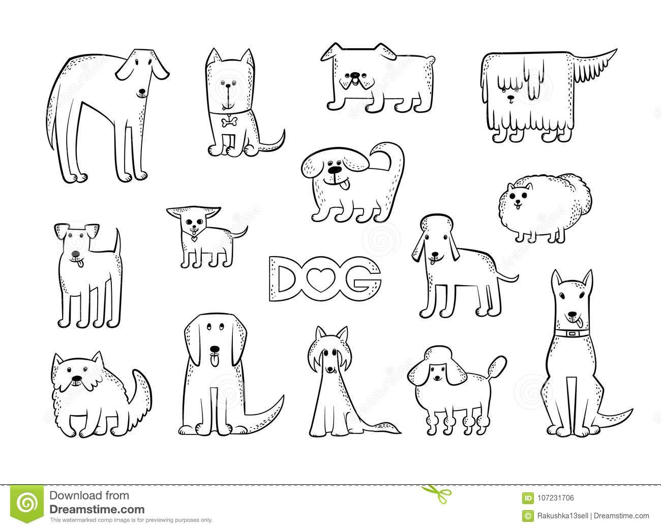 Vector set of different dog breeds. Funny caricature animals characters. Contour isolated black and white sketch