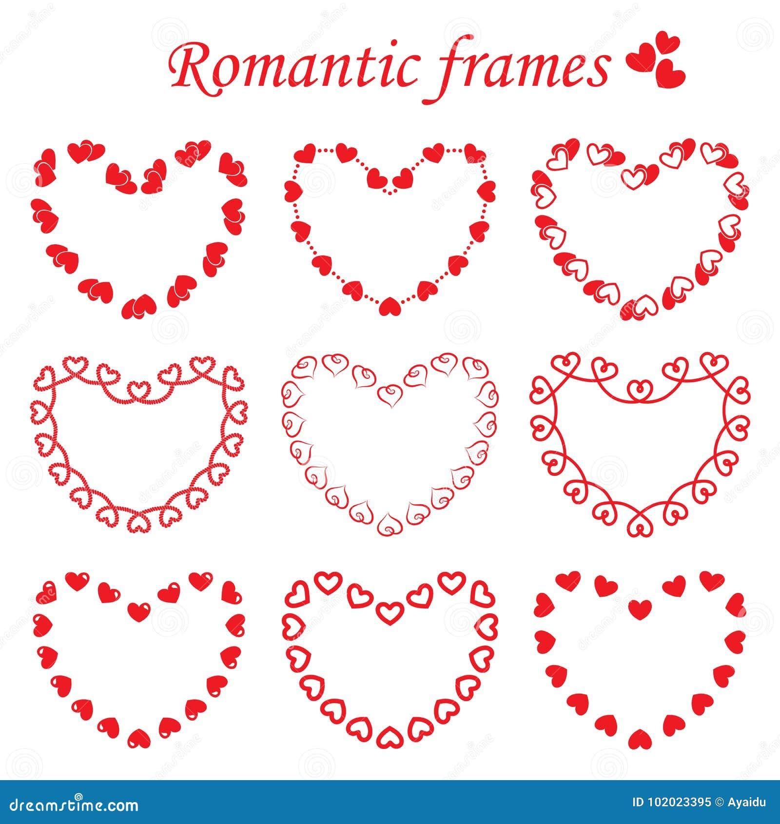 ad16f5cf43 Vector Set Of Romantic Frames Stock Vector - Illustration of ...