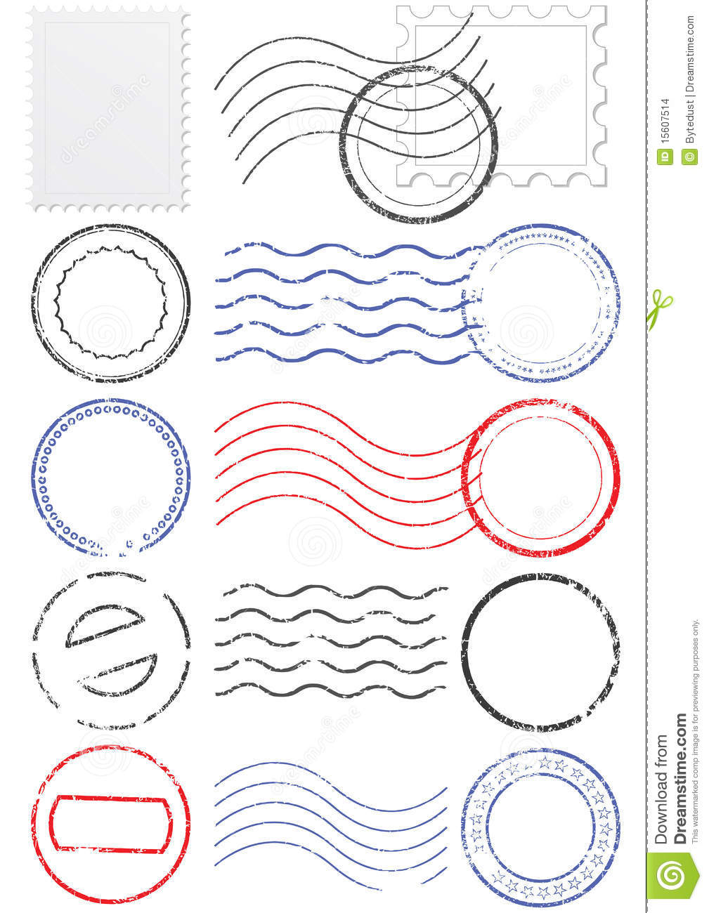 Vector set of stamps and postmarks. All vector objects are isolated ...