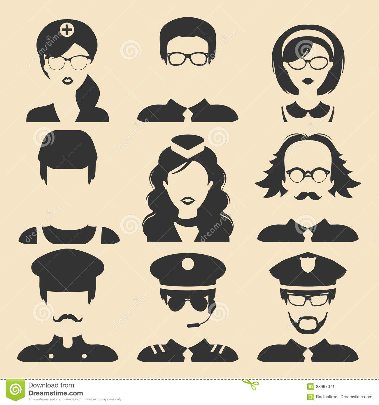Professor And Policeman >> Vector Set Of Different Professions Male And Female Icons In Flat Style. People Faces Or Heads ...