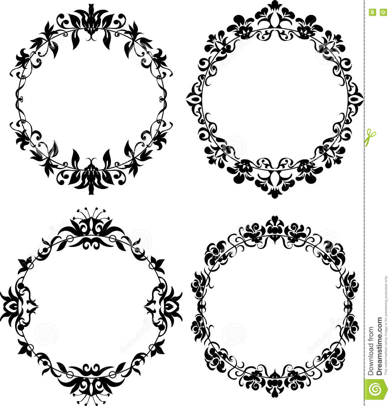 Vector Set Of Different Styles Frame Silhouettes Stock Vector ...