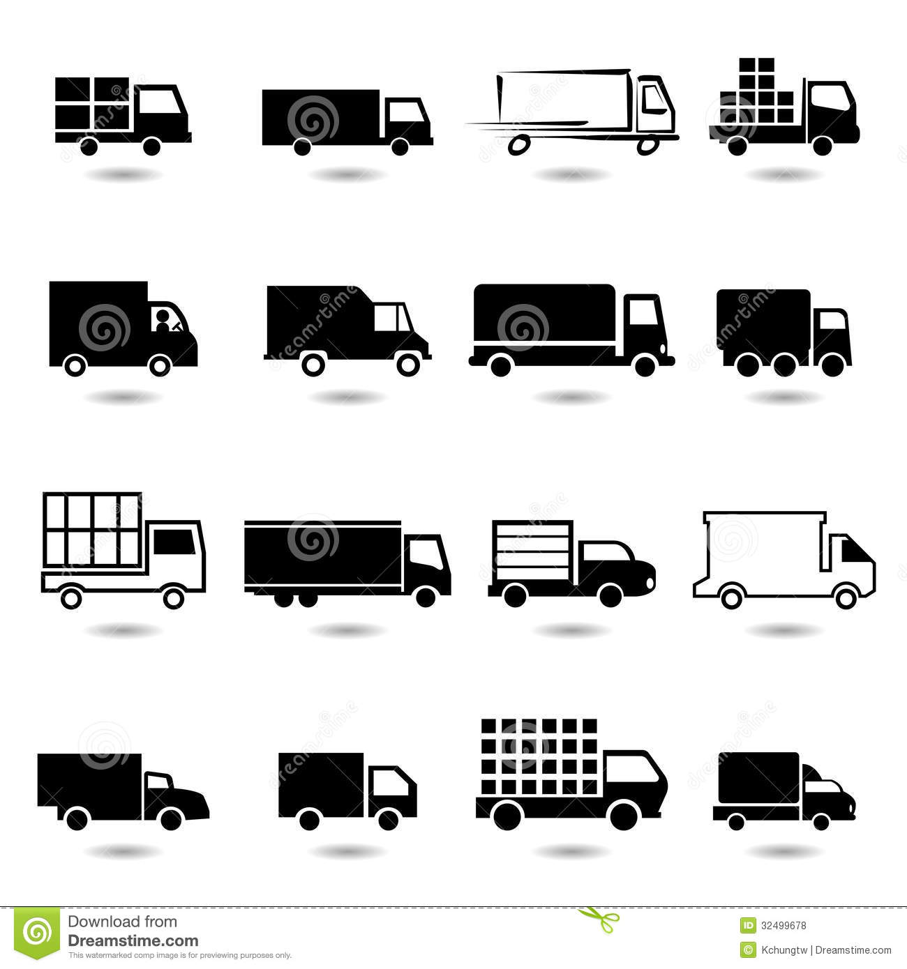 vector set of different truck icons  royalty free stock