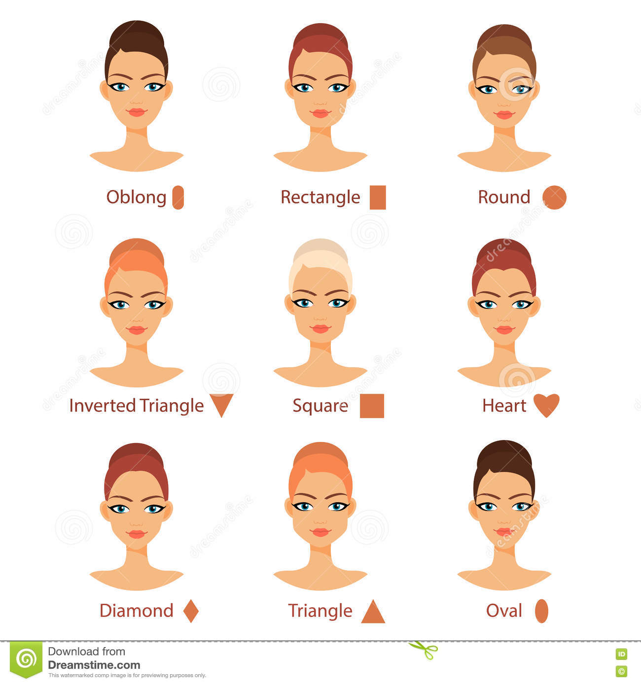 vector set of different womans face types stock vector