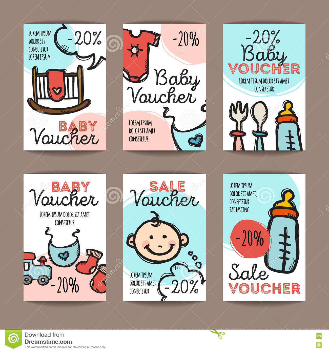 Vector set of discount coupons for baby goods colorful doodle style voucher templates baby - Houseplanscom discount code set ...
