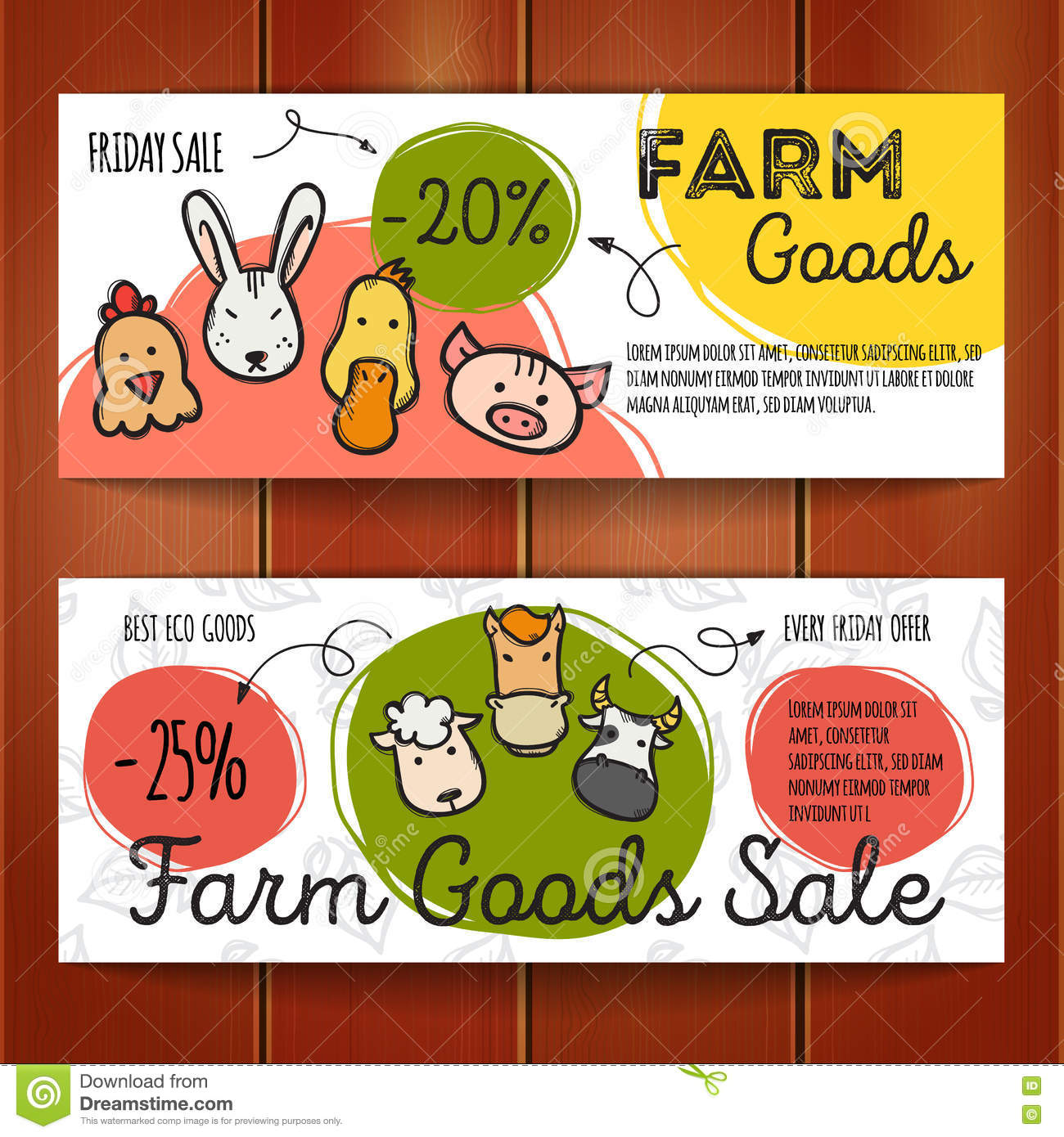 vector set of discount coupons for eco food goods colorful doodle vector set of discount coupons for eco food goods colorful doodle style voucher templates