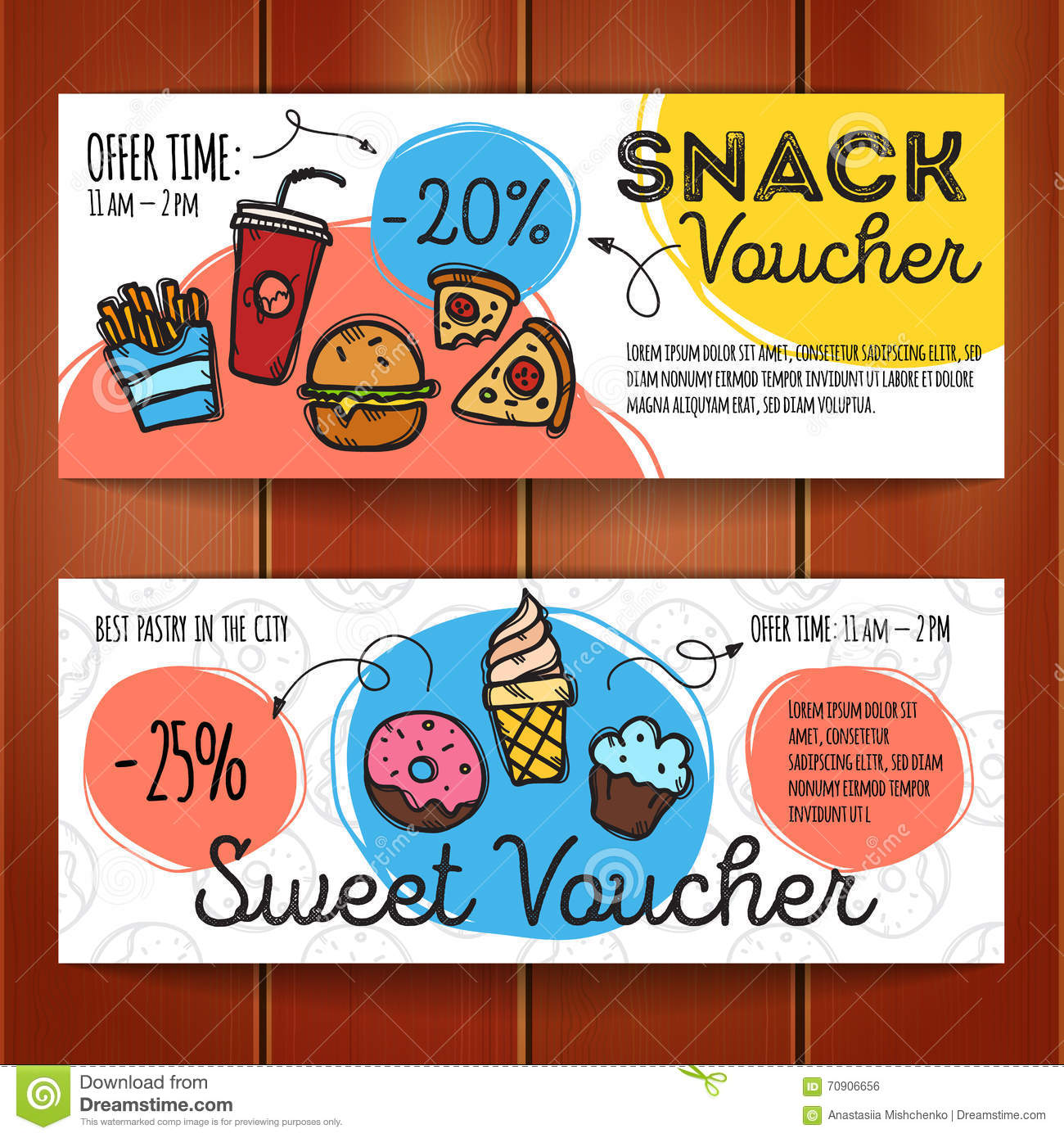 Vector set of discount coupons for fast food and desserts for Free meal coupon template