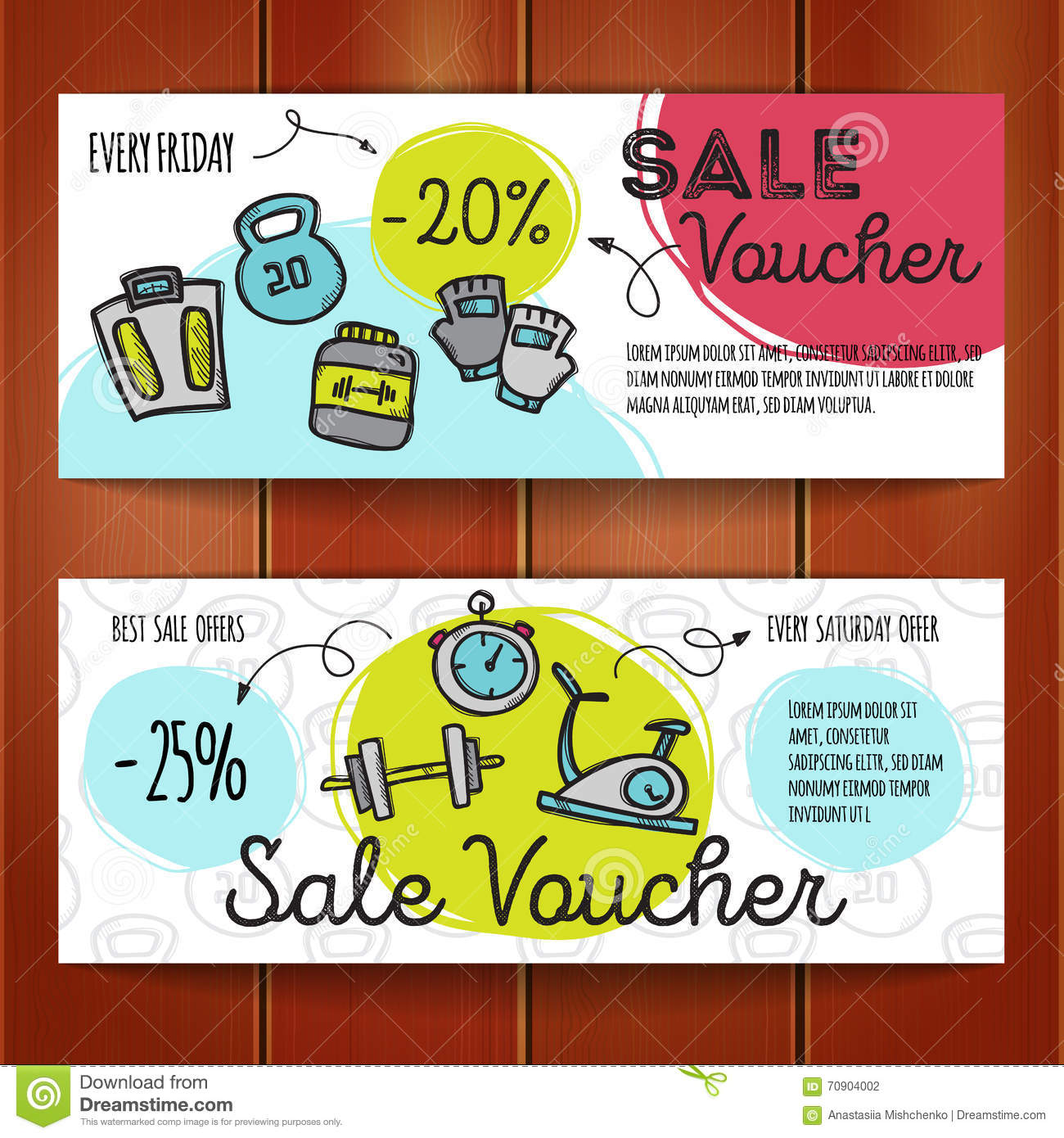 vector set of discount coupons for sport accessories colorful vector set of discount coupons for sport accessories colorful doodle style voucher templates gym