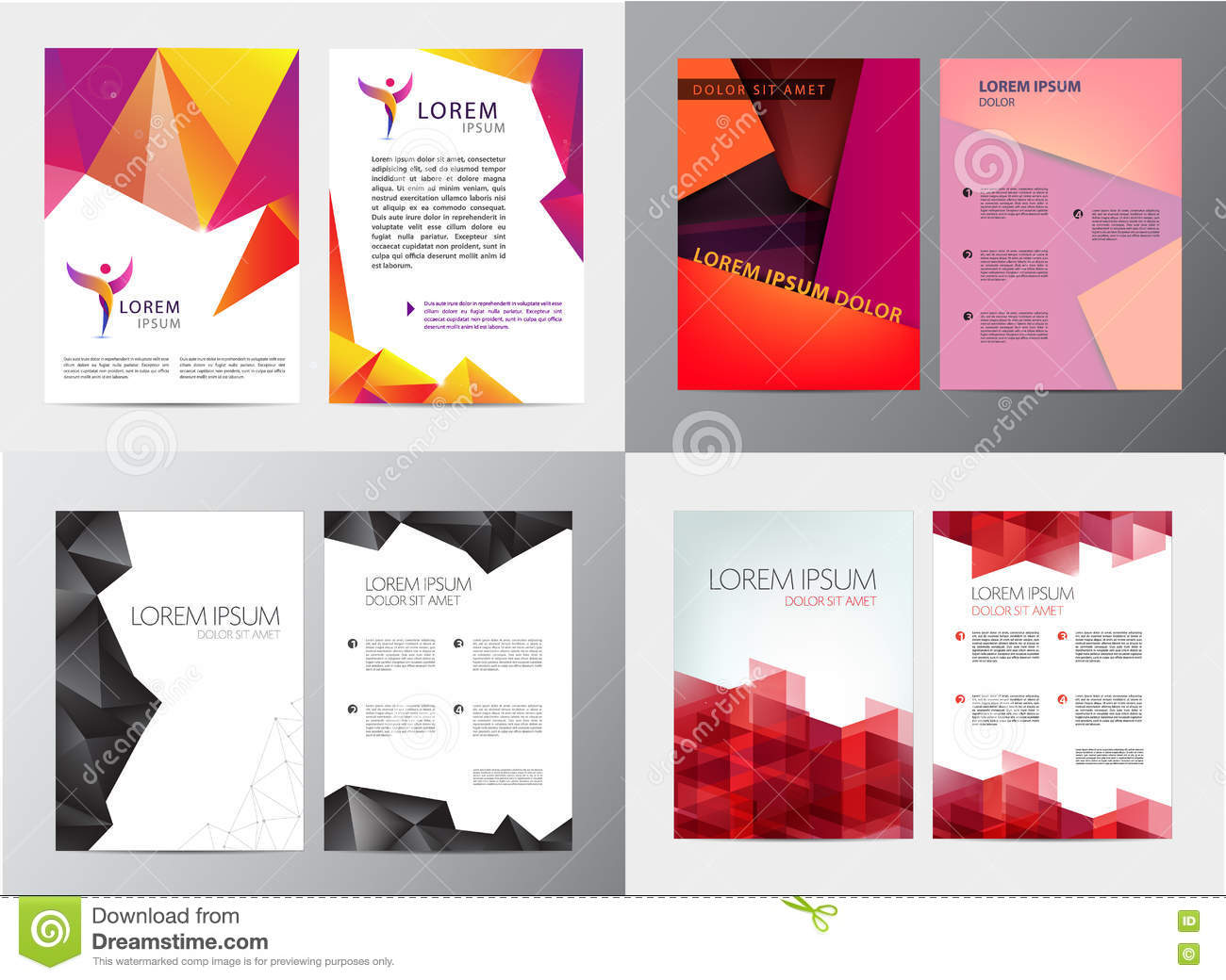Vector Set Of Document, Letter Or Logo Style Cover Brochure And ...