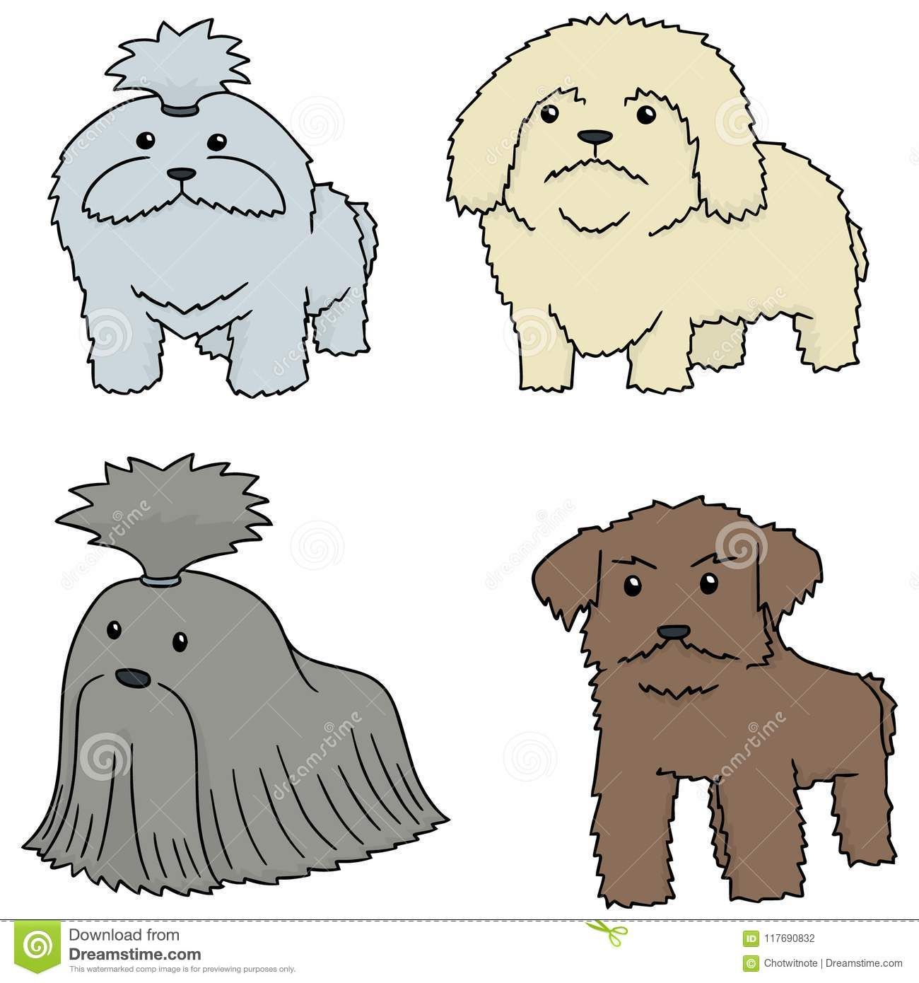 Vector Set Of Dog Shih Tzu Stock Vector Illustration Of Character