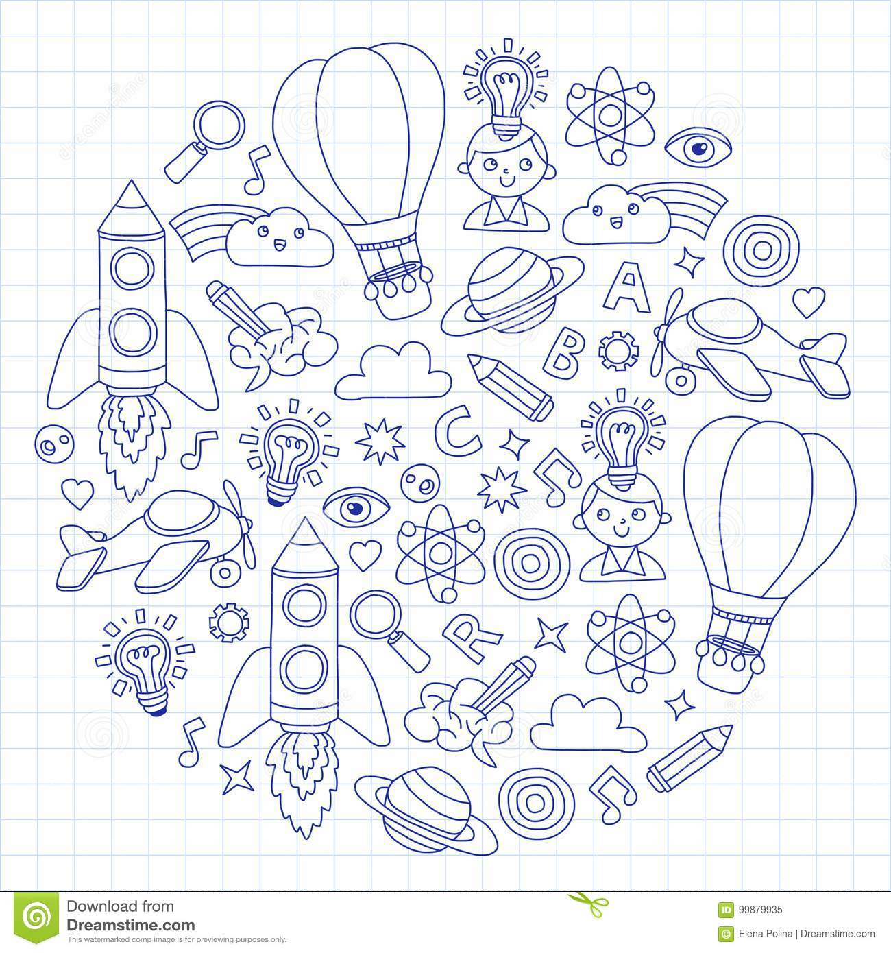 Vector Set Of Doodle Icons Notepad Checked Paper