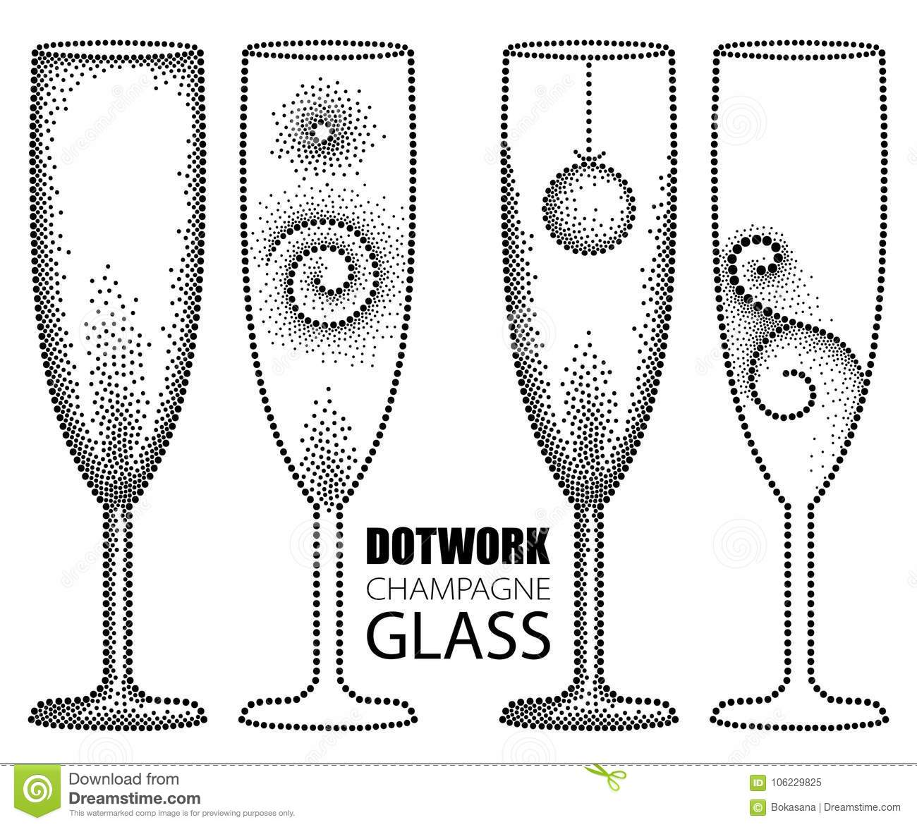 Vector Set With Dotted Champagne Glass Or Flute In Black Isolated On ...