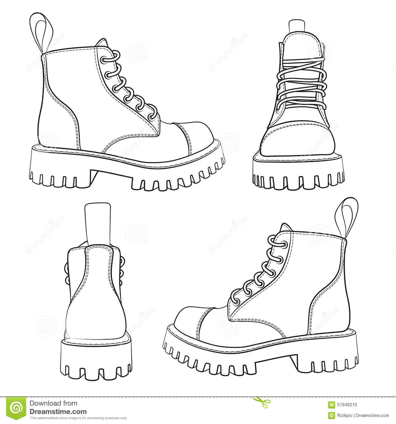 Vector Set Of Drawings With Boots Eps10 Stock Vector