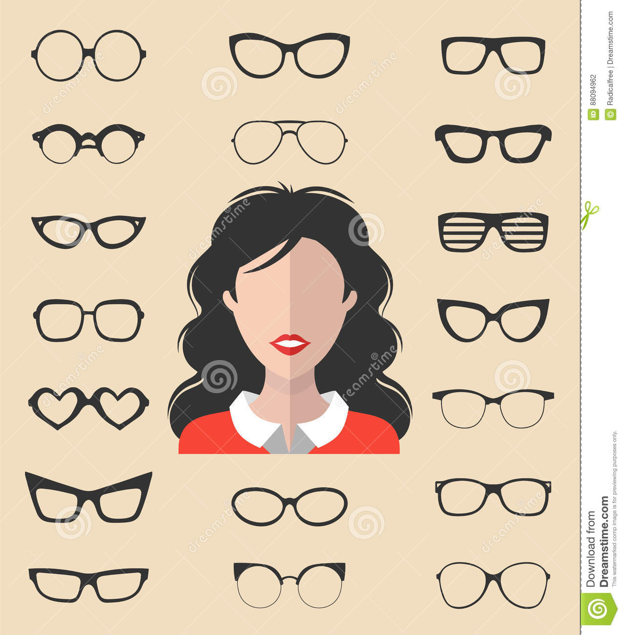 c8a1a05de4d Vector set of dress up constructor with different glasses in trendy flat  style. Female in sunglasses faces icon creator.