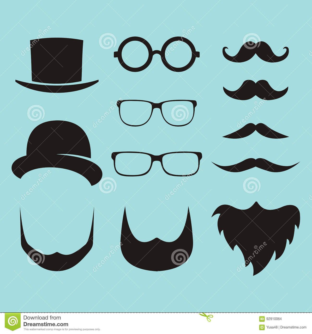 61c67022dbe Vector Set Of Dress Up Constructor With Different Men Glasses