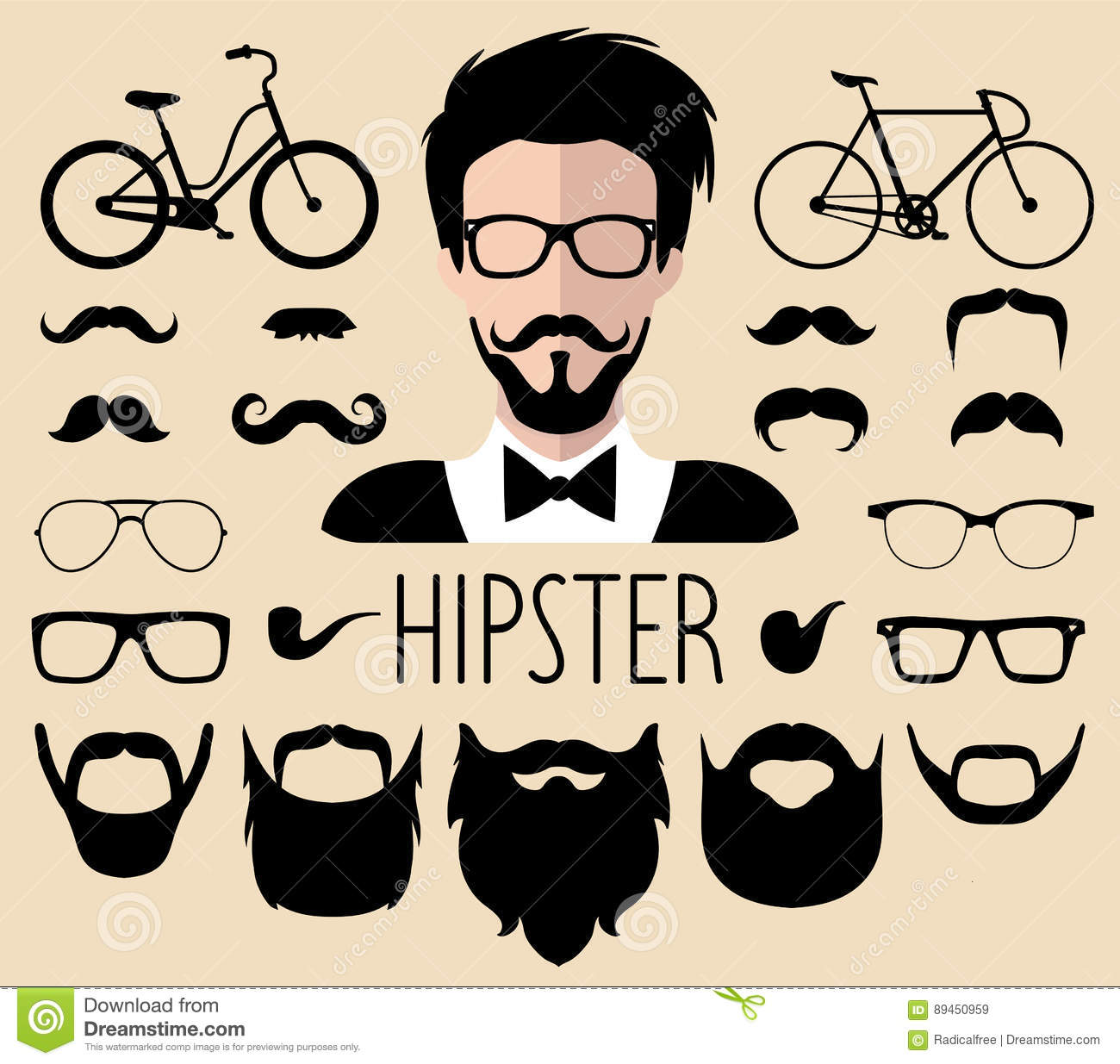 Hipster Man Icon. Hairstyle, Beard And Glasses In Flat ...