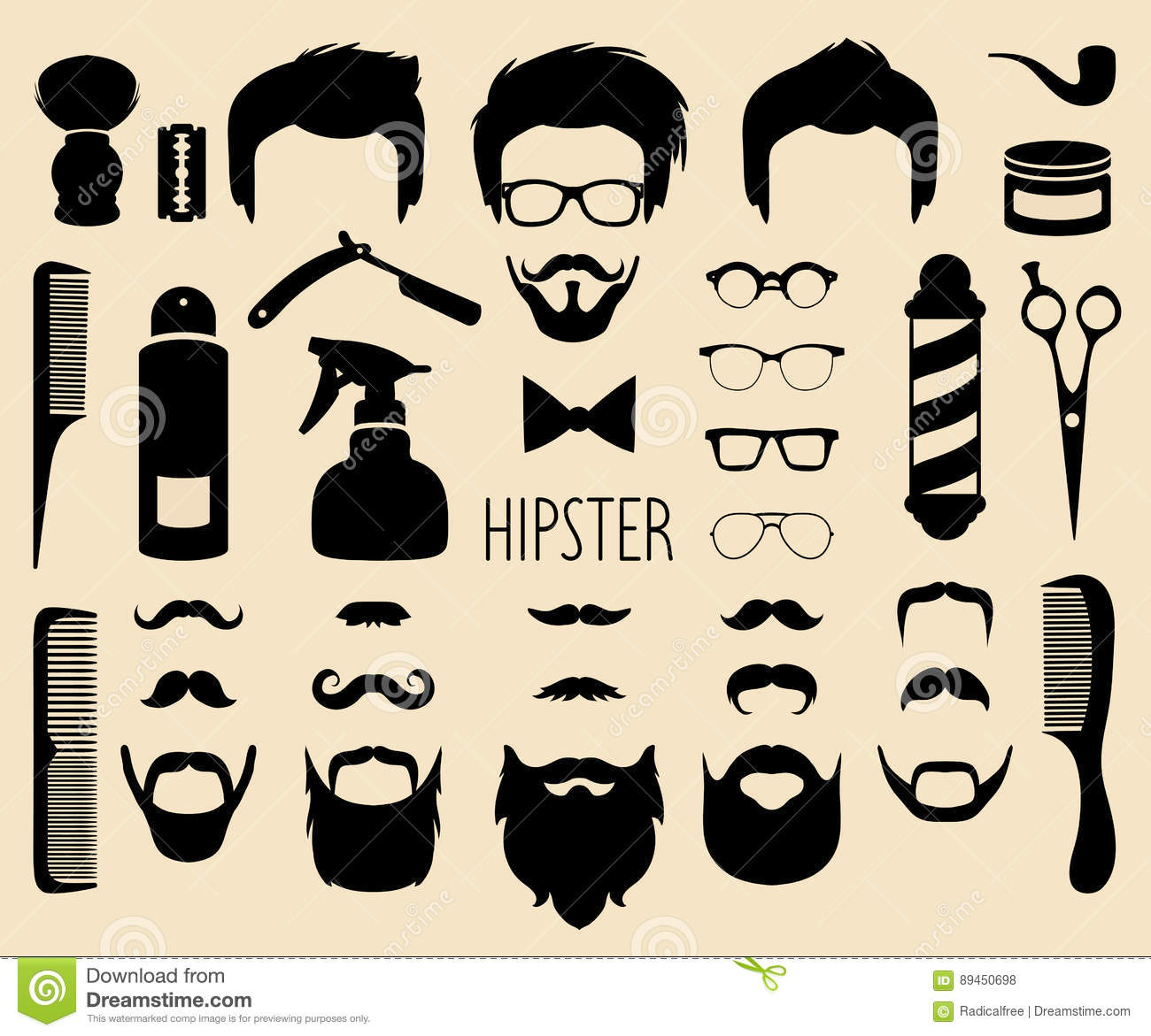 c3a8856e804 Vector Set Of Dress Up With Men Hipster Haircuts Etc.in Flat Style ...