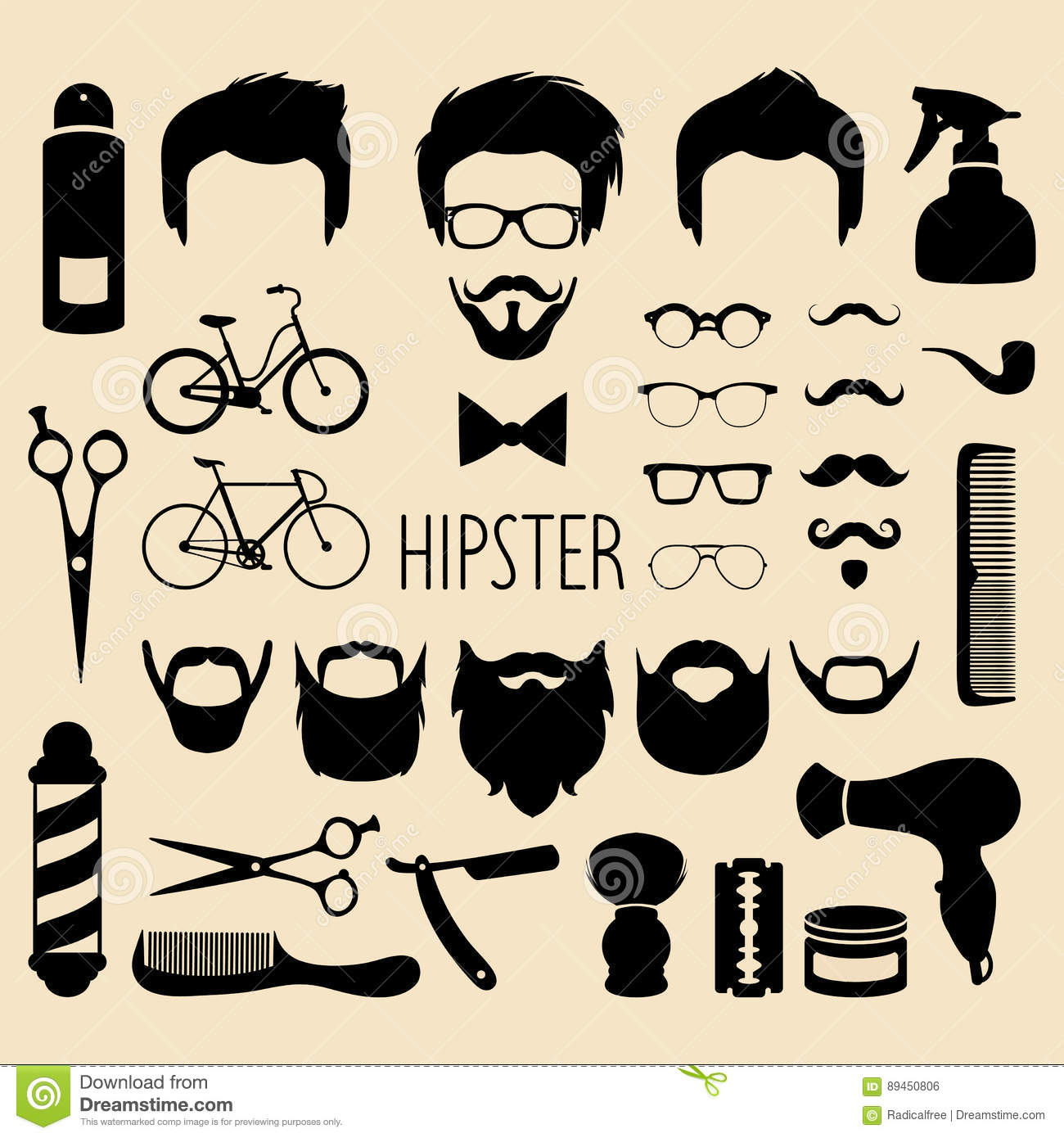 Vector Set Of Dress Up With Men Hipster Haircuts Etc In Flat Style
