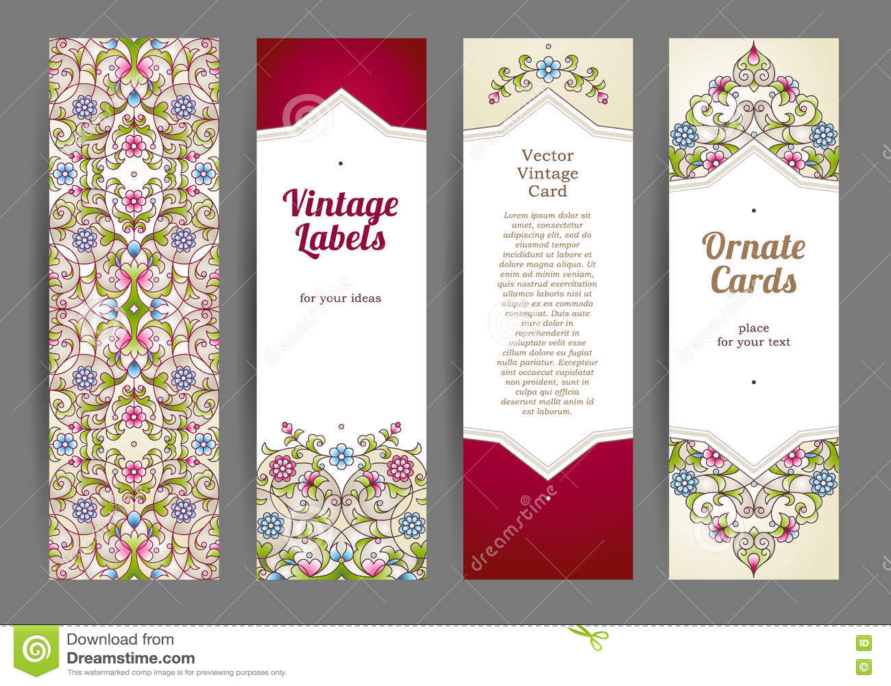Vector Set Of Eastern Floral Card Stock Vector Illustration Of