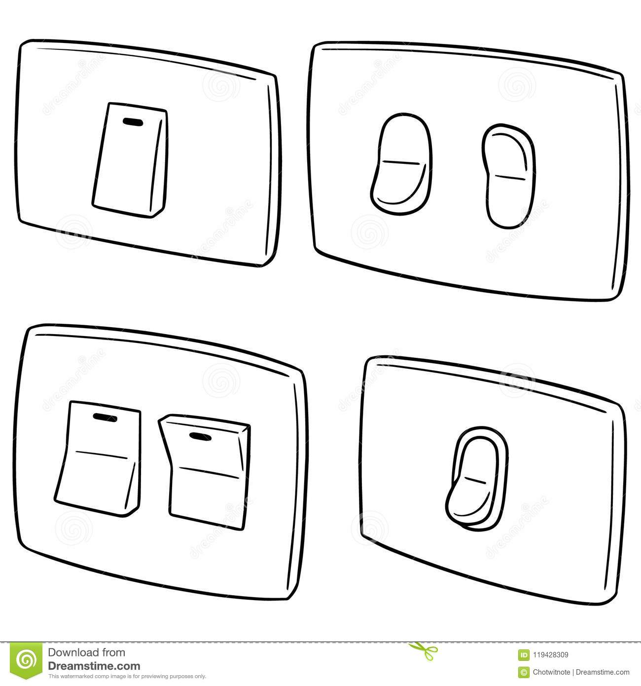 Vector Set Of Electric Switch Stock Vector Illustration Of Circuit Interior 119428309