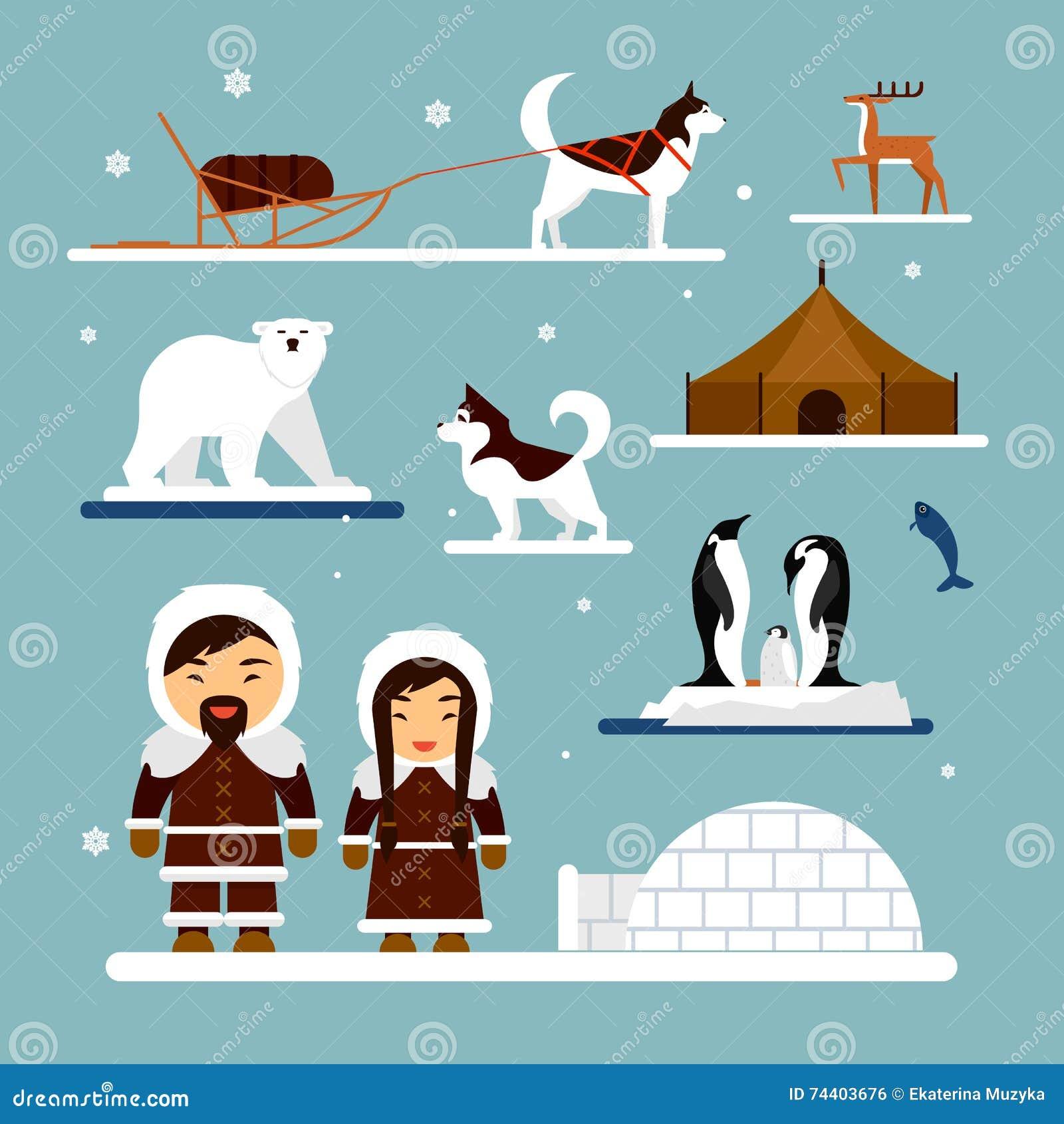 vector set of eskimo characters with igloo house dog white bear