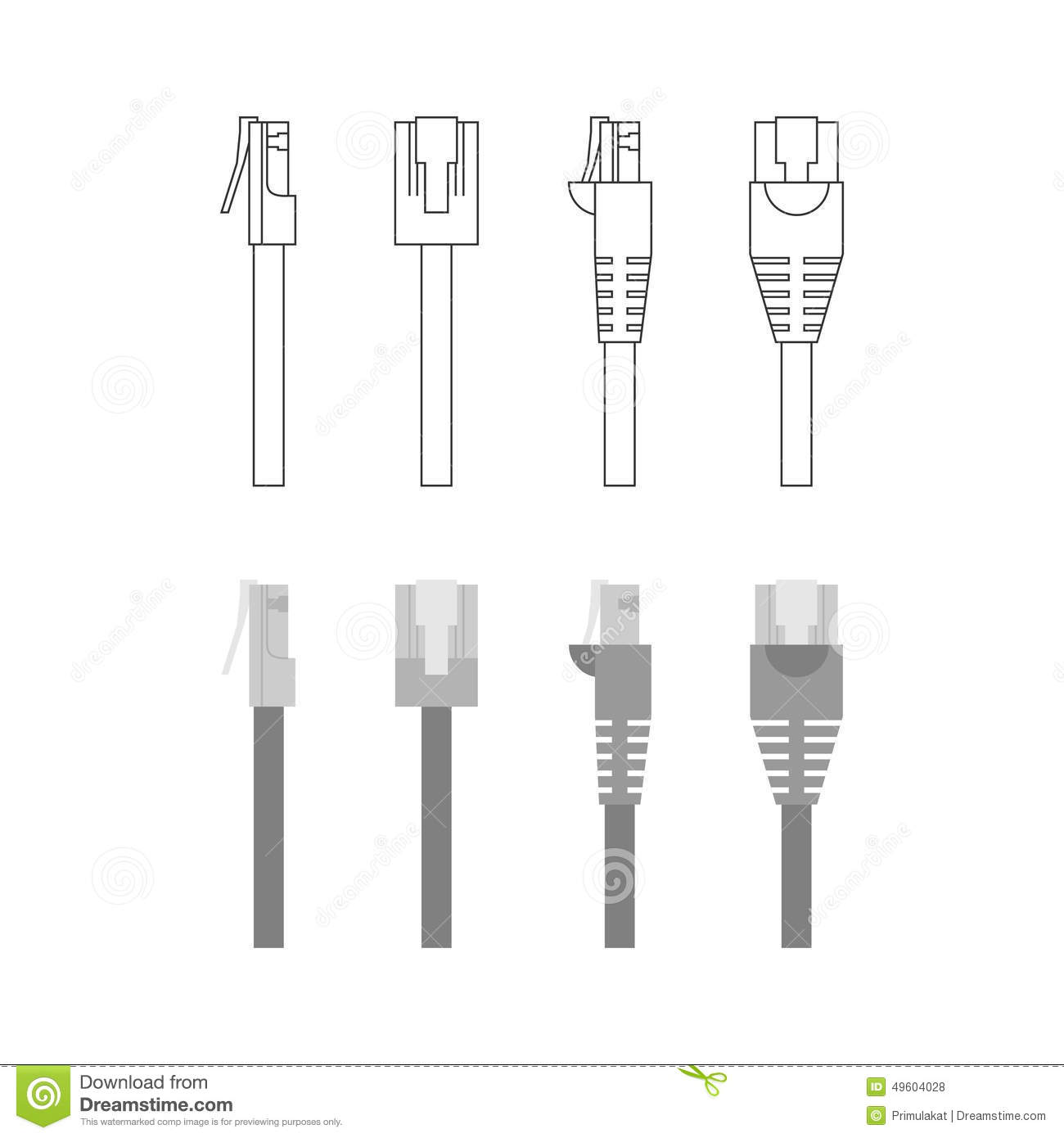 vector set of ethernet connectors stock vector