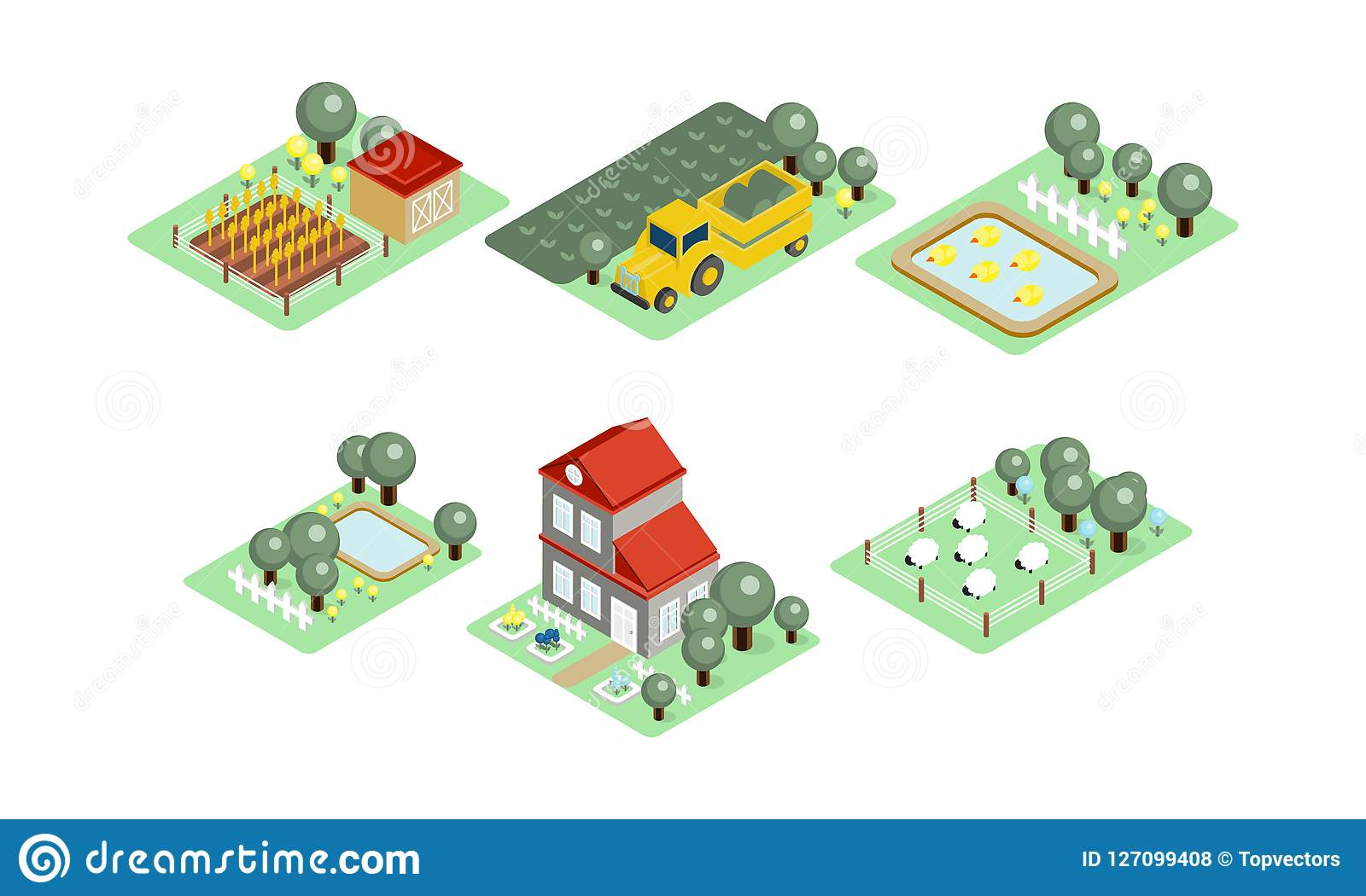 Collection of farm icons in modern 3d style fields with harvest grazing sheep house yards with trees and ponds colorful isometric icons