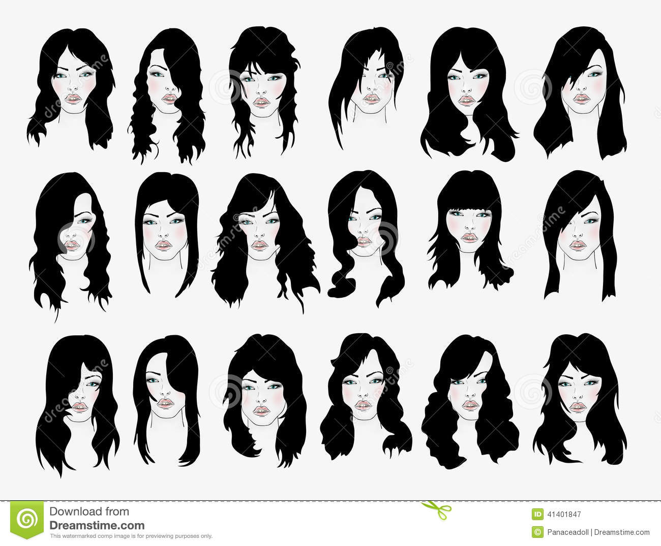 Vector Set Hair Style Silhouettes Vector Illustration