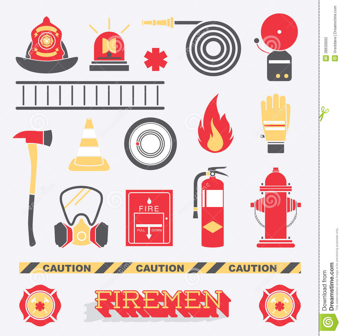Vector Set: Firefighter Flat Icons and Symbols