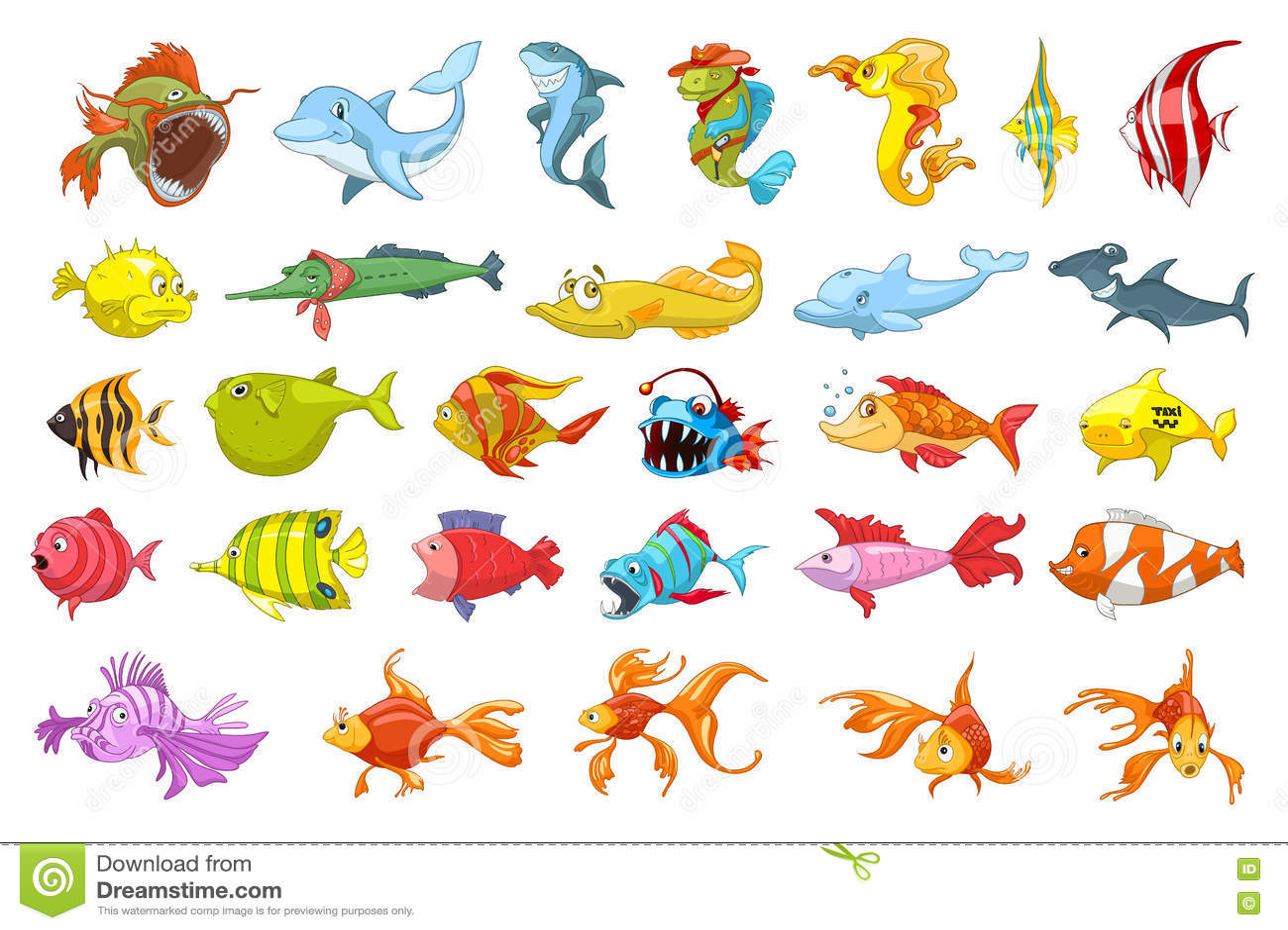 Vector set of fish illustrations.