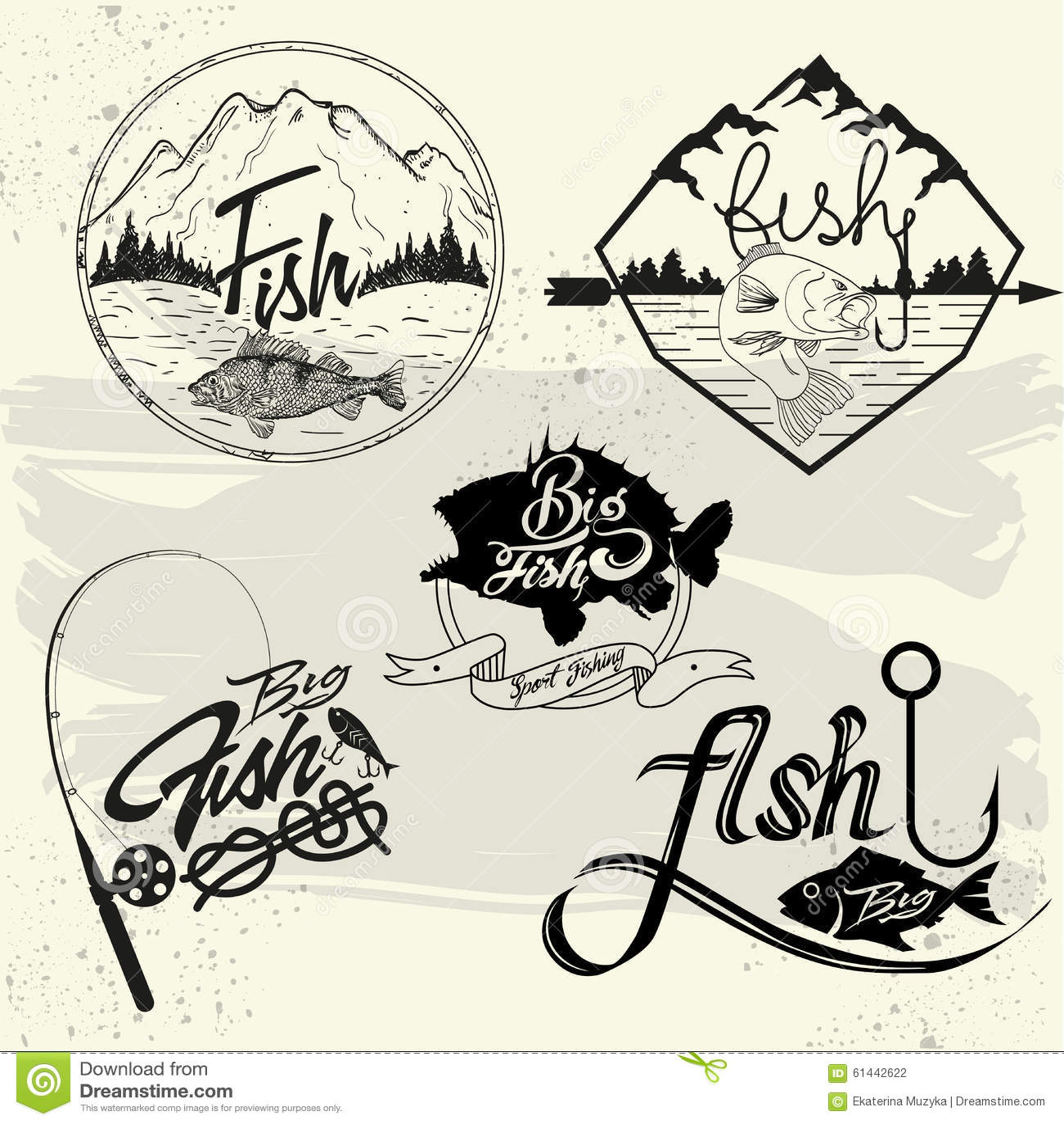 Vector Set Of Fishing Club Labels , Design Elements Stock